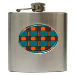 3 Colors Shapes Pattern                                                                                  			hip Flask (6 Oz) by LalyLauraFLM