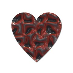 Red Grey 3d Design                                                                                    			magnet (heart) by LalyLauraFLM