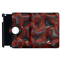 Red Grey 3d Design                                                                                    			apple Ipad 3/4 Flip 360 Case by LalyLauraFLM