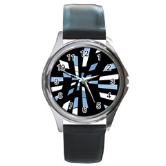 Blue Abstraction Round Metal Watch by Valentinaart