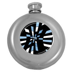Blue Abstraction Round Hip Flask (5 Oz) by Valentinaart
