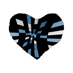Blue Abstraction Standard 16  Premium Heart Shape Cushions by Valentinaart