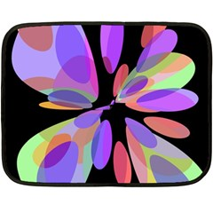 Colorful Abstract Flower Fleece Blanket (mini) by Valentinaart