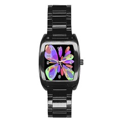 Colorful Abstract Flower Stainless Steel Barrel Watch by Valentinaart