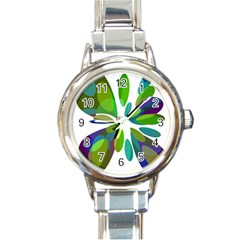 Green Abstract Flower Round Italian Charm Watch by Valentinaart