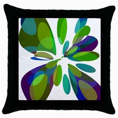 Green Abstract Flower Throw Pillow Case (black) by Valentinaart
