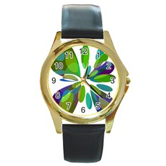 Green Abstract Flower Round Gold Metal Watch by Valentinaart