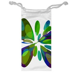 Green Abstract Flower Jewelry Bags by Valentinaart