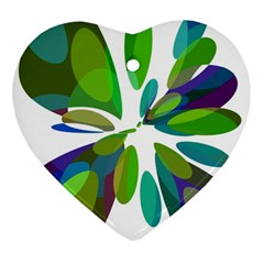 Green Abstract Flower Heart Ornament (2 Sides) by Valentinaart