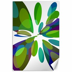 Green abstract flower Canvas 24  x 36  by Valentinaart
