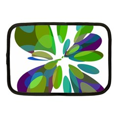 Green Abstract Flower Netbook Case (medium)  by Valentinaart