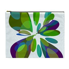 Green Abstract Flower Cosmetic Bag (xl) by Valentinaart