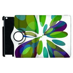 Green Abstract Flower Apple Ipad 3/4 Flip 360 Case by Valentinaart