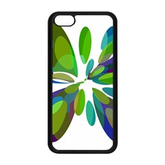 Green Abstract Flower Apple Iphone 5c Seamless Case (black) by Valentinaart