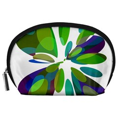 Green Abstract Flower Accessory Pouches (large)  by Valentinaart