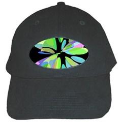 Green Abstract Flower Black Cap by Valentinaart
