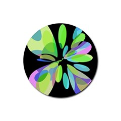 Green Abstract Flower Rubber Coaster (round)  by Valentinaart
