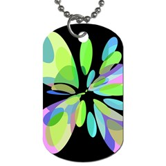 Green Abstract Flower Dog Tag (two Sides) by Valentinaart