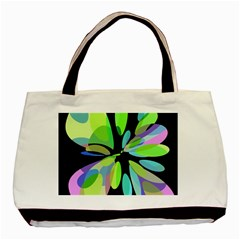 Green Abstract Flower Basic Tote Bag (two Sides) by Valentinaart