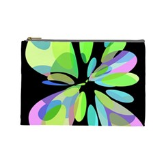 Green Abstract Flower Cosmetic Bag (large)  by Valentinaart