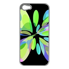 Green Abstract Flower Apple Iphone 5 Case (silver) by Valentinaart