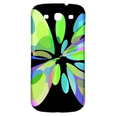 Green Abstract Flower Samsung Galaxy S3 S Iii Classic Hardshell Back Case by Valentinaart