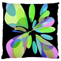 Green Abstract Flower Large Flano Cushion Case (one Side) by Valentinaart