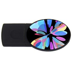 Blue Abstract Flower Usb Flash Drive Oval (4 Gb)  by Valentinaart