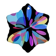 Blue Abstract Flower Snowflake Ornament (2 Side) by Valentinaart