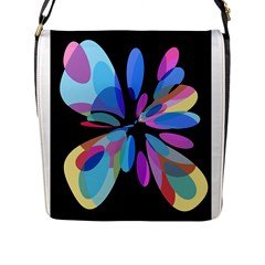 Blue Abstract Flower Flap Messenger Bag (l)  by Valentinaart