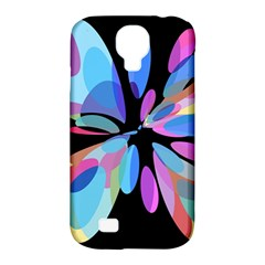 Blue Abstract Flower Samsung Galaxy S4 Classic Hardshell Case (pc+silicone) by Valentinaart
