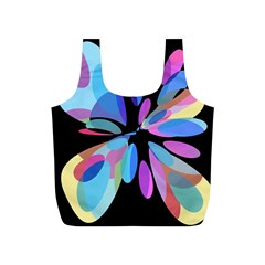 Blue Abstract Flower Full Print Recycle Bags (s)  by Valentinaart