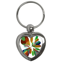 Colorful Abstract Flower Key Chains (heart)  by Valentinaart