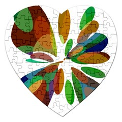 Colorful Abstract Flower Jigsaw Puzzle (heart) by Valentinaart
