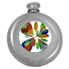 Colorful Abstract Flower Round Hip Flask (5 Oz) by Valentinaart