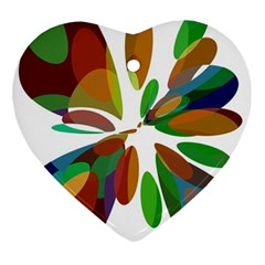 Colorful Abstract Flower Heart Ornament (2 Sides) by Valentinaart