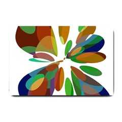 Colorful Abstract Flower Small Doormat  by Valentinaart
