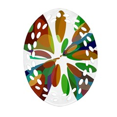 Colorful Abstract Flower Oval Filigree Ornament (2 Side)  by Valentinaart