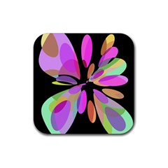 Pink Abstract Flower Rubber Coaster (square)  by Valentinaart