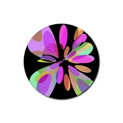 Pink Abstract Flower Rubber Round Coaster (4 Pack)  by Valentinaart