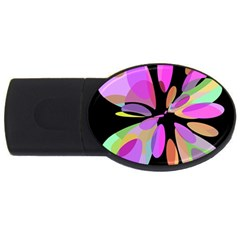 Pink Abstract Flower Usb Flash Drive Oval (2 Gb)  by Valentinaart