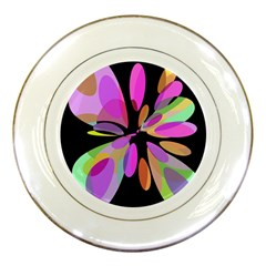 Pink abstract flower Porcelain Plates by Valentinaart
