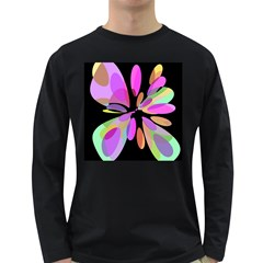 Pink Abstract Flower Long Sleeve Dark T Shirts by Valentinaart