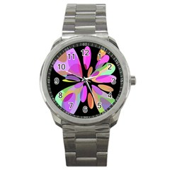 Pink abstract flower Sport Metal Watch