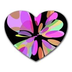 Pink Abstract Flower Heart Mousepads by Valentinaart