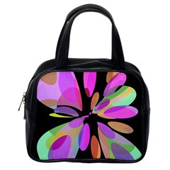Pink Abstract Flower Classic Handbags (one Side) by Valentinaart