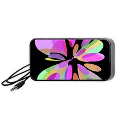 Pink abstract flower Portable Speaker (Black)  by Valentinaart
