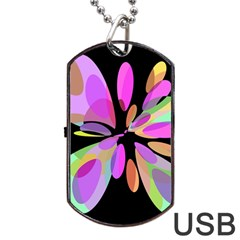 Pink Abstract Flower Dog Tag Usb Flash (one Side) by Valentinaart