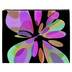 Pink Abstract Flower Cosmetic Bag (xxxl)  by Valentinaart