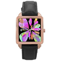 Pink Abstract Flower Rose Gold Leather Watch  by Valentinaart